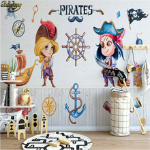 beibehang custom Modern minimalistic cartoon pirate wallpaper for kids room 3D mural wall paper children's room TV background beibehang wholesale boat jack sparrow mural pirate 3d cartoon mural wallpaper for baby children kids room 3d wall murals fresco