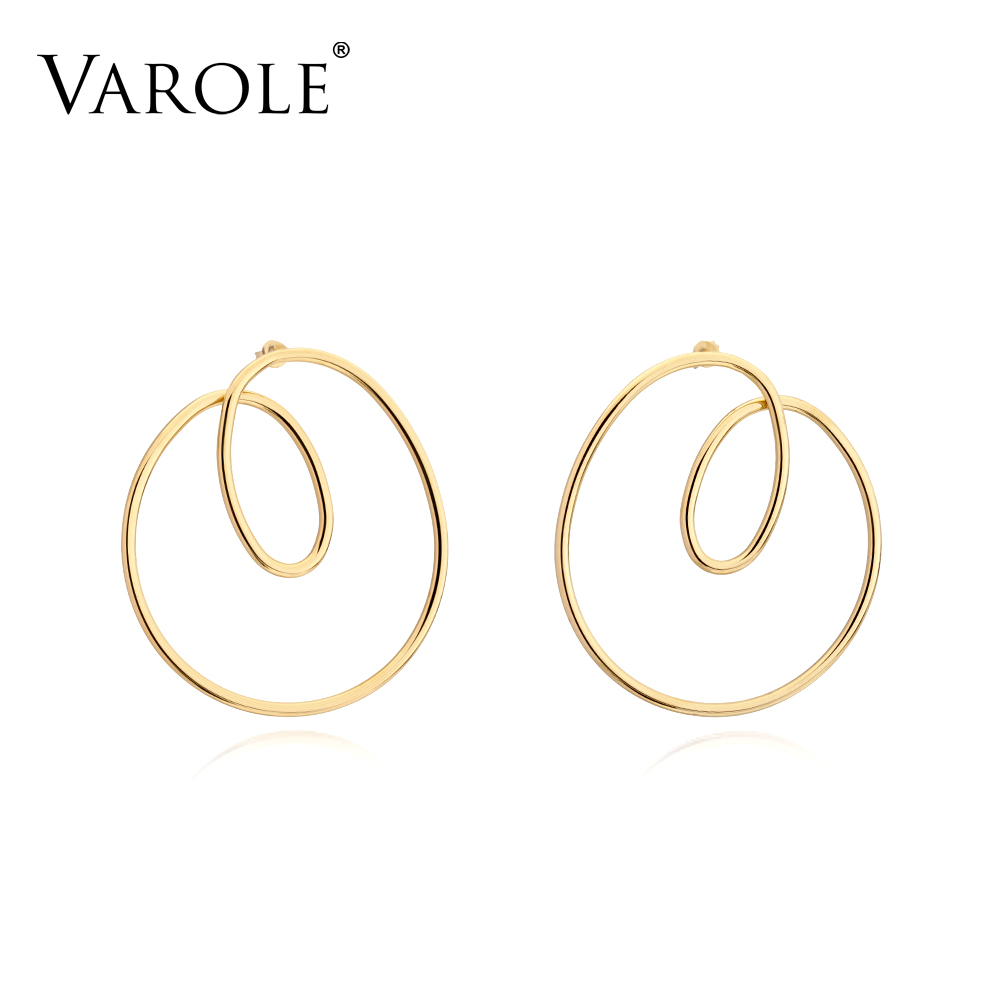 VAROLE 2018 New Arrival Irregular Shape Long Silver Earrings for Women High Quality Stainless Steel Drop Gold Color Big Earring цены