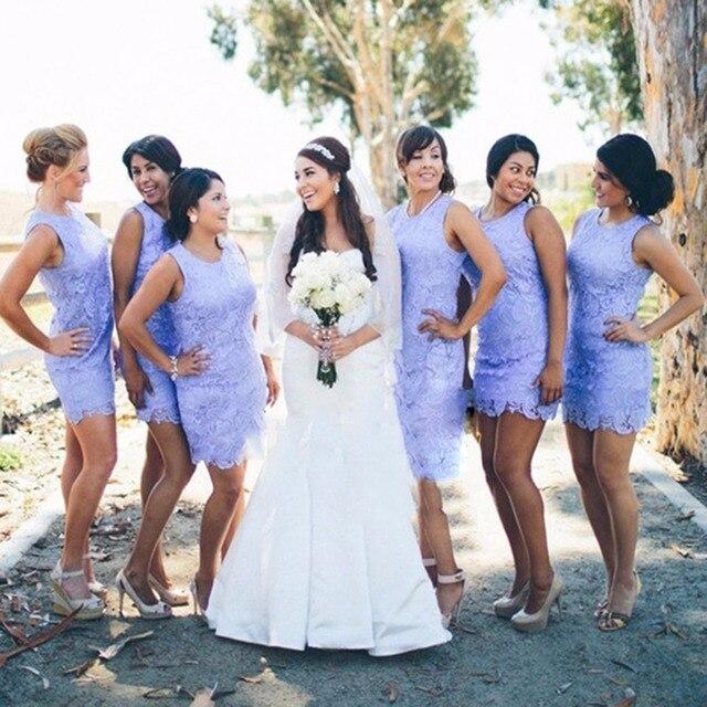 Sheath Short Light Purple Lavender Bridesmaid Dress Y Lace Dresses Mini Gowns