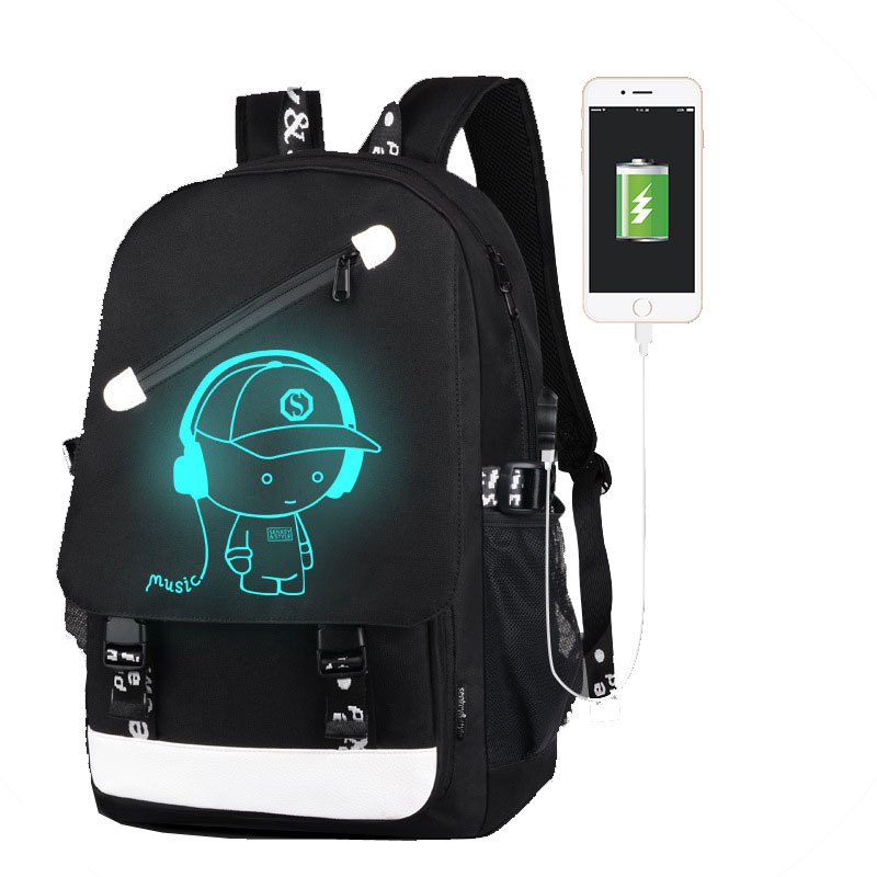 Boys School Backpack Student Luminous Backpack Animation USB Charger School Bag For Teenager Computer Bag Back To School BagPack