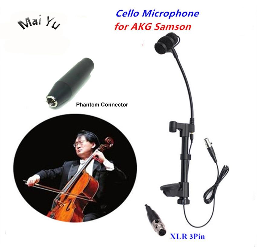 Professional Music Instrument Cello Microphone Condenser Microfone Condensador for AKG Samson Wireless System Mini XLR 3Pin gooseneck instrument microphone music violin transmitter microfone withmini xlr 3pin for akg samson wireless system