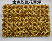 10PCS/LOT Free Shipping Artificial silk Gold rose flower wall sparking wedding background lawn flower Wedding decoration