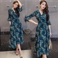 Spring Summerach Women Long Dress Print V Neck Whole Shop Small Seaside Resort Dresses Flower Green