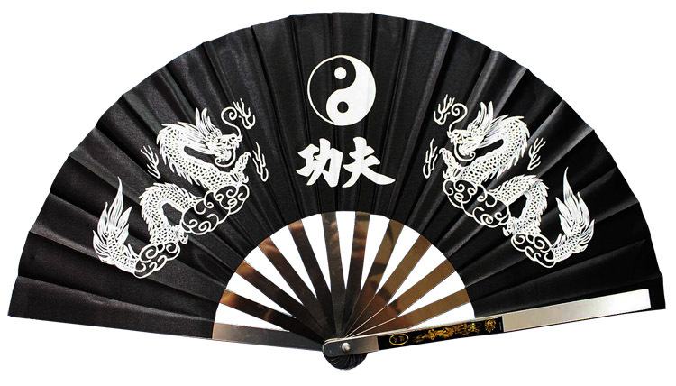 Three Colors Double Dragons More Thicken Stainless Steel  Fan Tieshan Tai Chi Fan