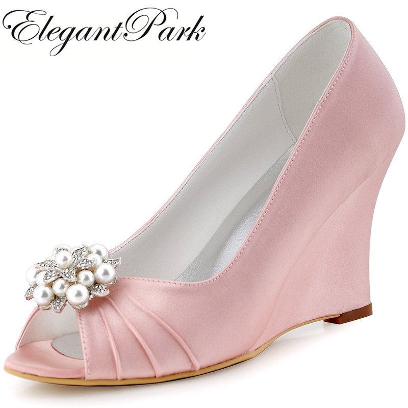 Pink Peep Toe Wedges Heel Rhinestones Satin Bride Bridesmaid Wedding Bridal Shoes Evening Prom Pumps WP1549 Green Mint Champagne