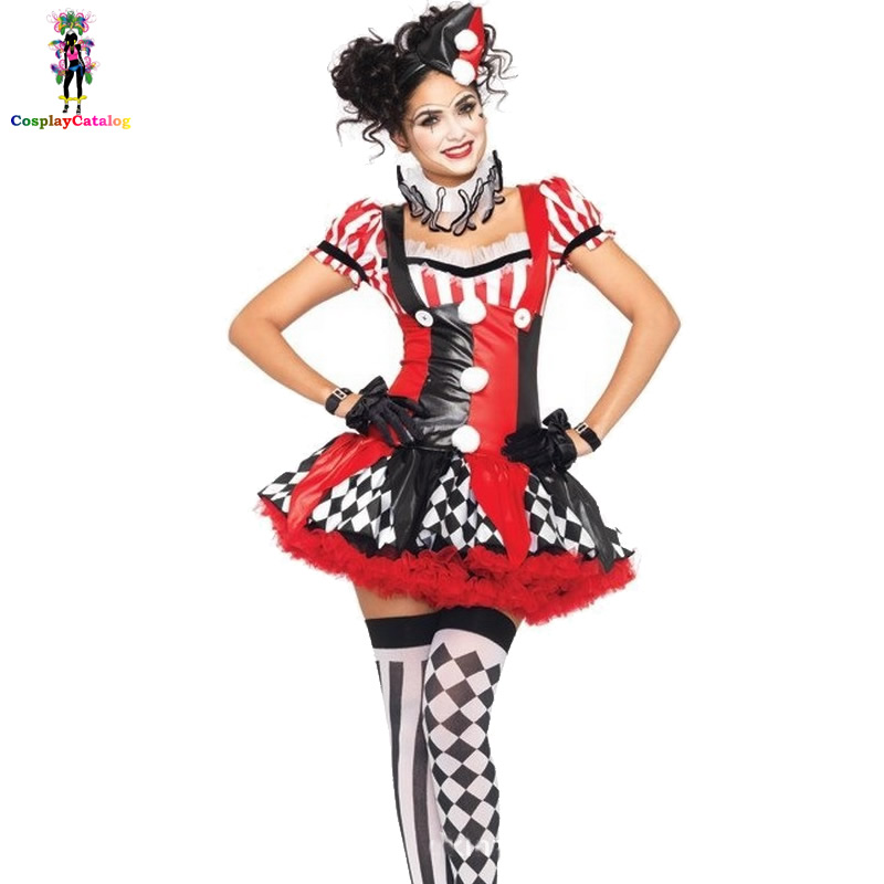 Harlequin Jester Costume For Women,Adult Lady Playful Colorful Circus Clown Costumes,Sexy Jokester Magician Assistant Uniforms