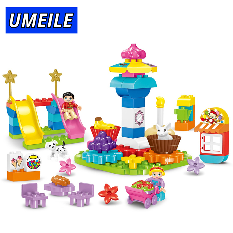 UMEILE 70PCS Amusement Park Set Building Block City Friends Carousel Slide Games Brick Kids Toys Compatible With Duplo Gift umeile brand farm life series large particles diy brick building big blocks kids education toy diy block compatible with duplo