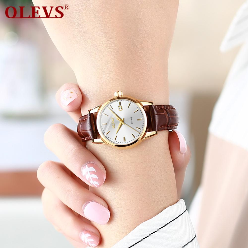OLEVS Original Watch Luxury Brand Quartz Leather Watches Women Casual Clock Waterproof Lady Wristwatch White Relojes Mujer 2018
