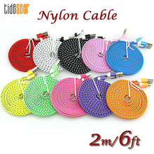 10pcs 2m 6ft Mobile Phone Micro USB Cable Nylon Braided Flat Cable For Samsung Android Charging Cord 5pin Charger Data Cable 10pcs 1 2m black usb data for sp nintendo gameboy hot charger cable advance