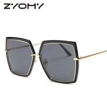 Grande Armação Dos Óculos De Sol Unissex Oculos de sol UV400 Polygon Marca  Óculos de Designer de Óculos de Sol de Grandes Dimens. f162f1c026