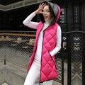 2016 medio-largo delgado del remiendo de otoño e invierno las mujeres de moda femenina con una capucha engrosamiento chaleco femenino de algodón CHALECO acolchado