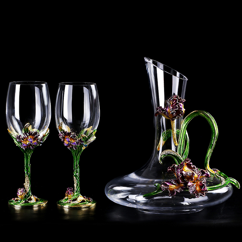 Enamel irises lead-free crystal glass red wine glass wakeup set Wine Glass cup Champagne Cup wedding gift Drinking utensilsEnamel irises lead-free crystal glass red wine glass wakeup set Wine Glass cup Champagne Cup wedding gift Drinking utensils
