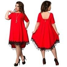 Chiffon Women Plus Size Patchwork Tassel Dress L-6XL