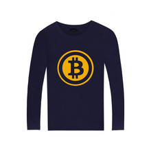 BTS Bitcoin long sleeve T-shirt Digital currency Logo Cotton Tee SHIRT t shirt with Long Sleeve Sleeve Bitcoin(China)