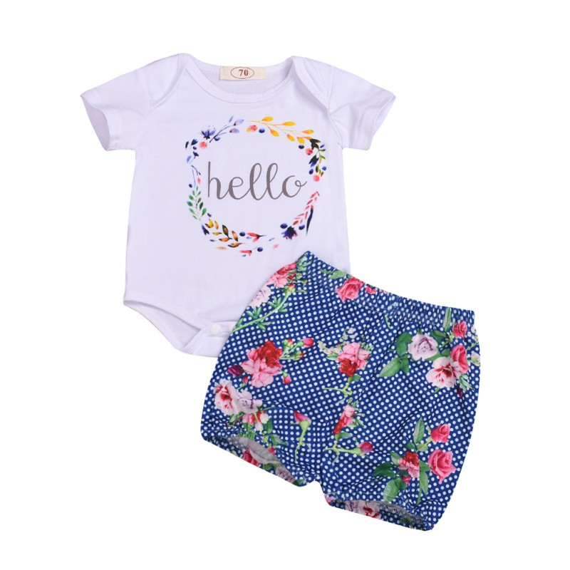 NewPullover Letter Cotton Floral Summer Baby Girl Casual Letter Print Short Sleeve Cotton Romper Tops Floral Shorts Outfits Set