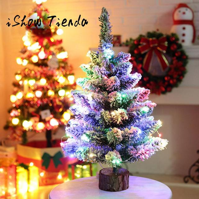 artificial flocking snow christmas tree led multicolor lights holiday window multi color lighting trees xmas party