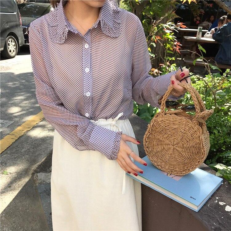 Women Shirts Single Breasted Ruffled Polka Dot Blouse Shirt Green Purple 6803
