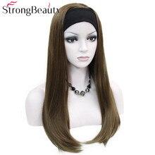 Silne piękno długie syntetyczne prosto Capless peruki pół damskie 3/4 peruki z pałąkiem na głowę peruka