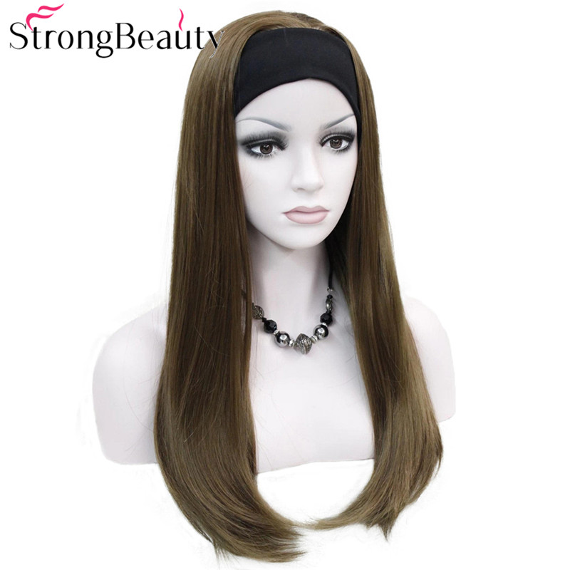 Strong Beauty Long Synthetic Straight Capless Wigs Half Ladies' 3/4 Wig With Headband Wig