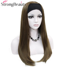Strong Beauty Long Synthetic Straight Capless Wigs Half Ladies 3/4 Wig With Headband Wig