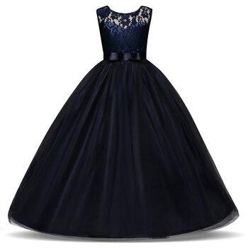 От 5 до 14 лет, детское платье для девочек на свадьбу, фатиновое кружевное длинное платье для девочек элегантное праздничное платье принцессы...