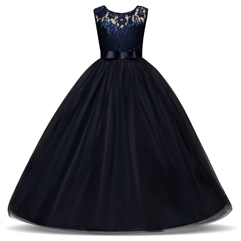 5-14 años los niños vestido de la boda de las niñas de encaje de tul largo vestido de niña princesa elegante fiesta desfile vestido Formal para adolescentes de los niños