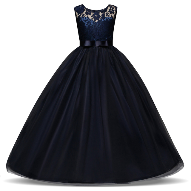 5-14 anos As Crianças Se Vestem para o Casamento De Meninas Tule Laço Longo Menina Elegante Vestido de Princesa Partido Pageant Vestido Formal para Adolescentes Crianças