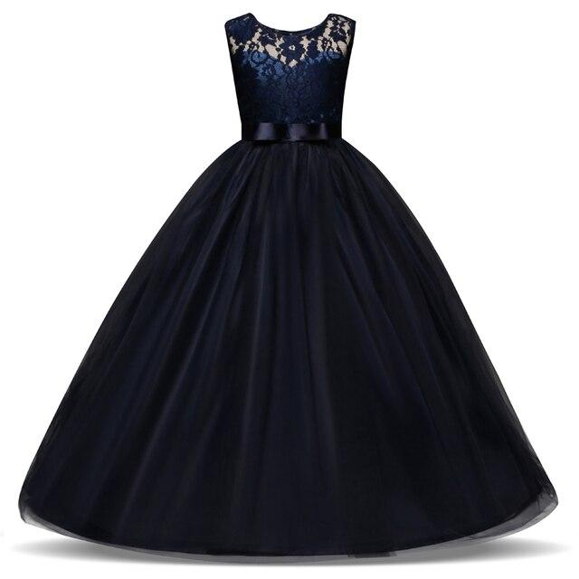 fd15b5d2251b1 5-14 ans enfants robe pour les filles de mariage Tulle dentelle longue fille  robe