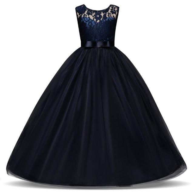 5-14 שנים ילדים שמלת בנות חתונה טול תחרה ארוך ילדה שמלה אלגנטי נסיכת המפלגה תחרות שמלת פורמליות עבור Teen ילדים