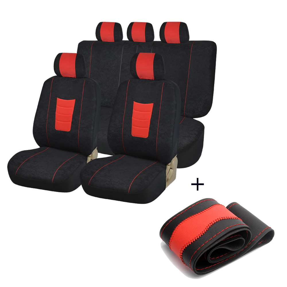 Car Seat Covers Red Full Set Car Chair Cover Universal With DIY Car Steering Wheel Covers Universal Car For 2018 camry ct200h carking diy abs steering wheel covers stickers for bmw mini cooper red blue multi color