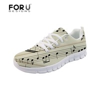 4bc01399f24 FORUDESIGNS Sneakers Women Music Notes Spring Casual Shoes Flats Female  Comfortable Lace Up Woman Walking Shoes
