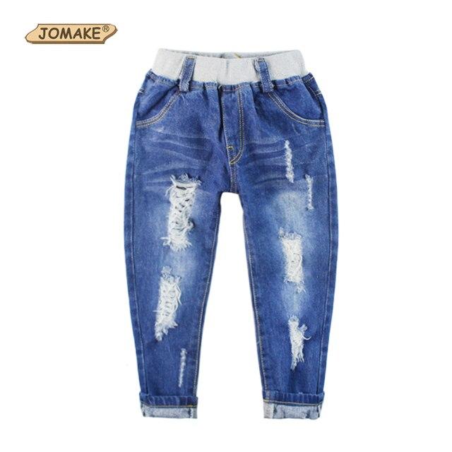 Новая коллекция весна джинсы мальчиков девочек брюки мода дизайнер дети джинсовые брюки свободного покроя рваные джинсы эластичный пояс для 2 ~ 9 лет