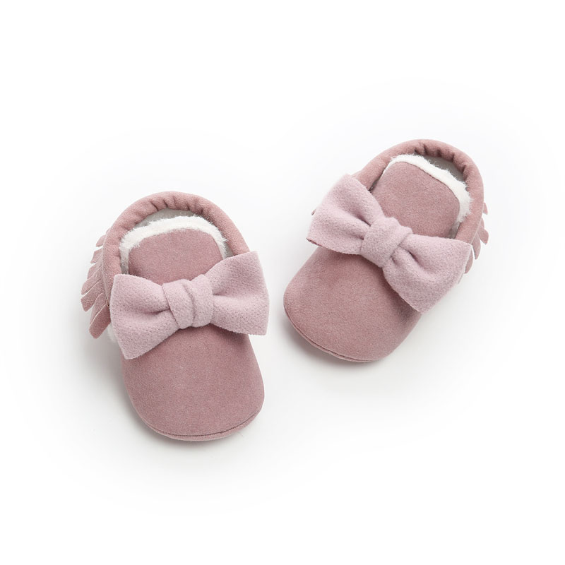 WONBO Cute Bow Baby Girls Winter Booties Infant Toddler Shoes Fashion Baby Moccasins First Walkers