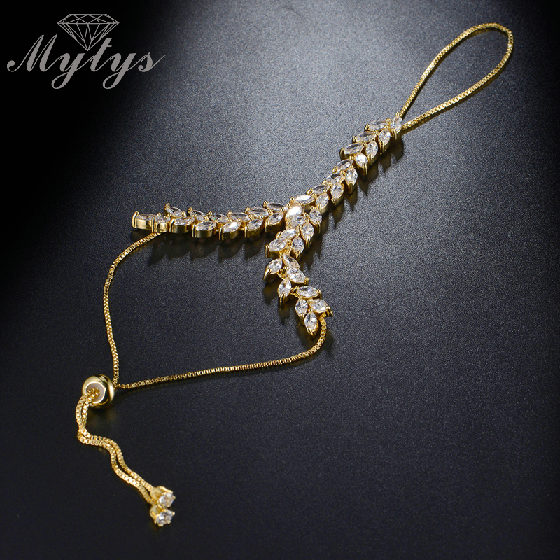 Mytys GP High Quality Zircon Prong Setting Leaf Design Slave Bracelet Connected Fingers Palm Bracelet R1112