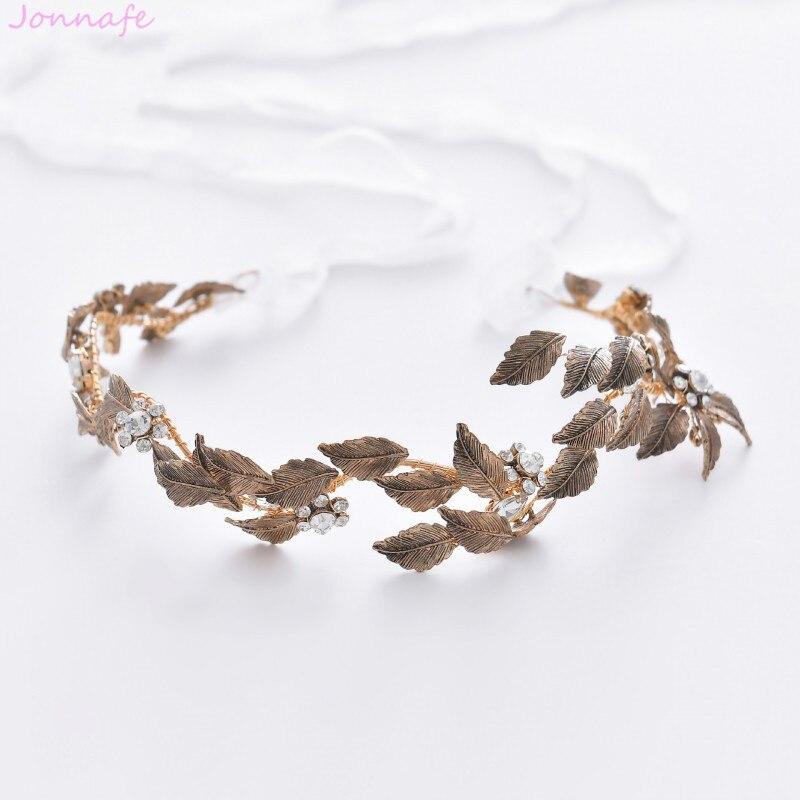 Jonnafe Antique Gold Leaf Women Headpiece Hand Wired Wedding Tiara Headband Bridal Hairband Accessories Hair Crown headpiece