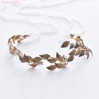 Jonnafe Antique Gold Leaf Women Headpiece Hand Wired Wedding Tiara Headband Bridal Hairband Accessories Hair Crown