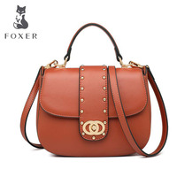 Cow leather handbag Retro portable saddle bag handbag 2019 new wave fashion rivet shoulder messenger bag