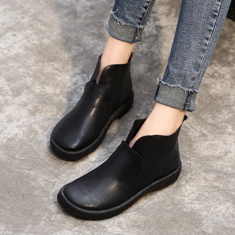 Automne/hiver 2018 vintage en cuir chaussons femmes de fond plat plus de velours femmes bottes en cuir bottes d'hiver chaussures femmes