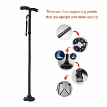 Walking Stick LED Light Canes Trekking Trail Hiking Poles Old Man Ultralight Folding Protector Adjustable T Handlebar Elders