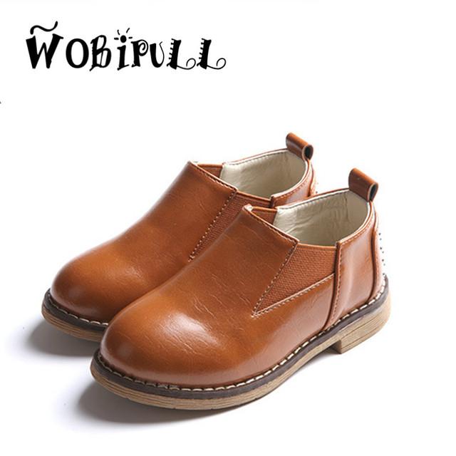 Wobipull 2017 rebites de couro de alta qualidade estilo britânico shoes crianças flats casual shoes meninos meninas sapatilhas do bebê oxford shoes