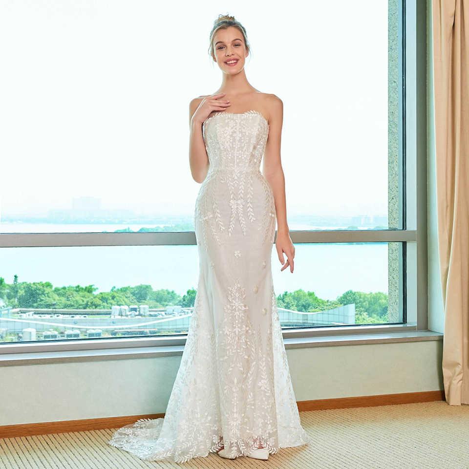 Dressv elegante sereia vestido de casamento strapless watteau trem apliques rendas até o chão nupcial ao ar livre & igreja vestidos de casamento