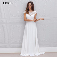 LORIE 2019 Beach Wedding Dress A Line Lace Appliqued Bridal Gowns Illusion Sleeveless Wedding Dress Plus size vestido de noiva