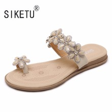 2017 New Korean Comfortable Bohemian Women Sandals Flowers Rhinestones Clip Toe Flat Shoes Sandals Shoes SIKETU Brand