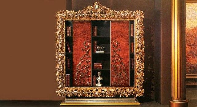 Stile europeo di lusso in legno intagliato libreria w porta