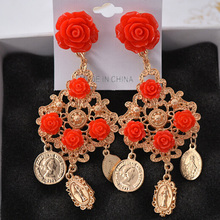 Charmcci Red flower Coin tassels wedding Vintage Long Drop Earring