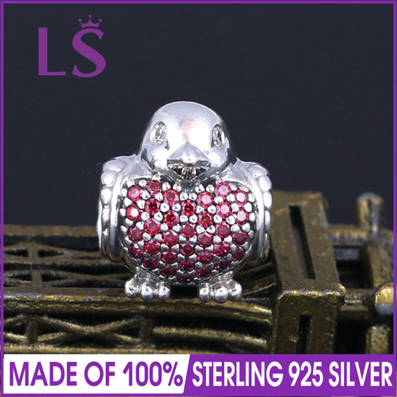 LS High Quality 100%Real 925 Sterling Silver Red Robin Charms Beads Fit Original Bracelets Pulseira Encantos.100% Fine Jewlery W