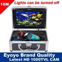 Eyoyo оригинальный 15 м Профессиональный Рыболокаторы Подводная охота Видео Камера 7 Цвет HD монитор 1000TVL HD CAM огни Управление