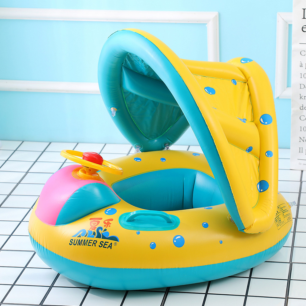 Inflatable Baby Swimming Sitting Ring Baby Infant Swimming Float Adjustable Sunshade Seat Inflatable Wheels Swimming Pool Toys dual slide portable baby swimming pool pvc inflatable pool babies child eco friendly piscina transparent infant swimming pools
