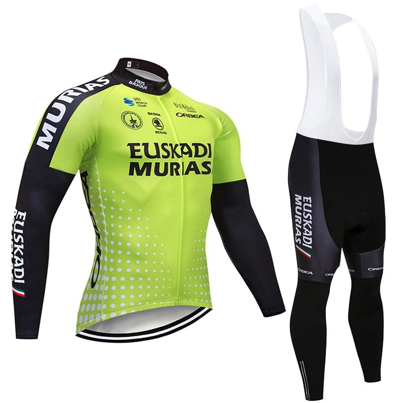 Зима 2018 Эускади команды задействуя Топы 9D pad велосипед Штаны костюм Ropa Ciclismo мужская Термальность руно pro велосипед Майо Culotte костюмы