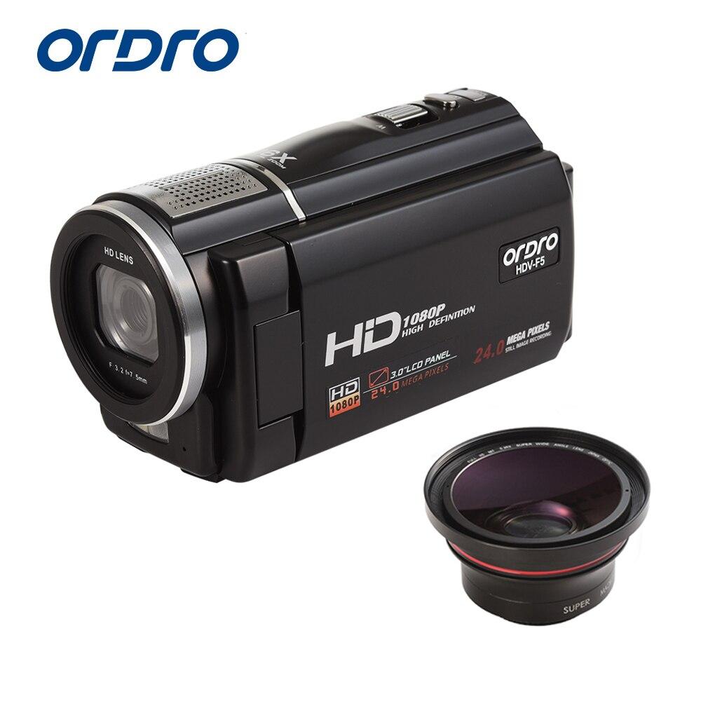 ORDRO caméra vidéo numérique HDV-F5 Portable 1080 P 30fps caméscope HD avec objectif grand Angle télécommande